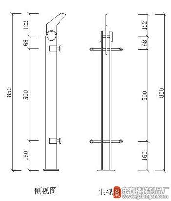 不锈钢玻璃栏杆立柱(DY-8123)CAD图