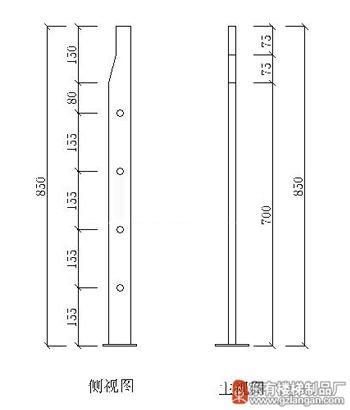 工程管状穿管不锈钢护栏立柱(DY-8141)CAD图