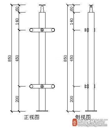 圆柱管状玻璃不锈钢楼梯立柱(DY-8189)CAD图