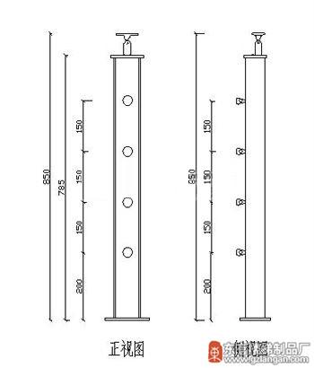 不锈钢夹木玻璃扶手立柱(DY-8231)CAD图